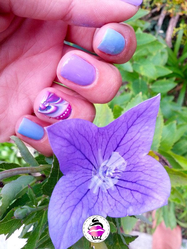 Violet Water Marble nail art by TheBeautycake