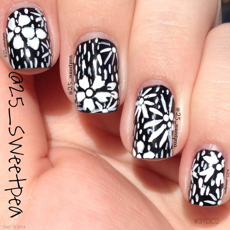 Black and White Floral nail art by 25_sweetpea