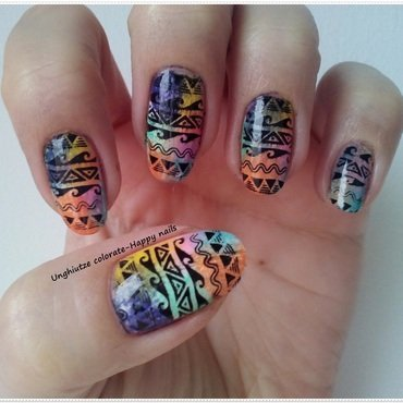 Tribal nail art nail art by Oana  Alexandru