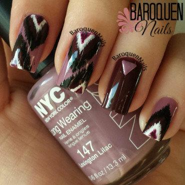 Lilac Ikat nail art by BaroquenNails