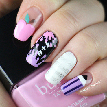 Back to school nails nail art by NailsbyFreckles