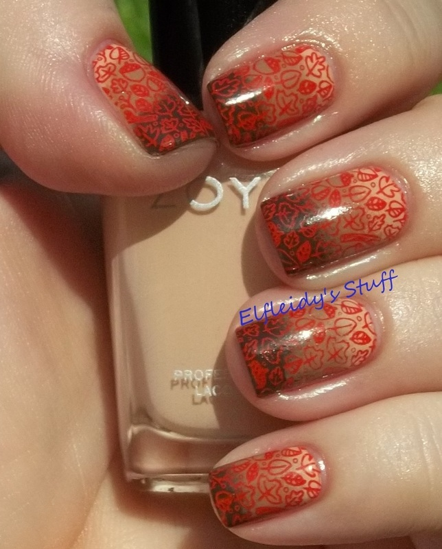 Fall gradient with stamping nail art by Jenette Maitland-Tomblin