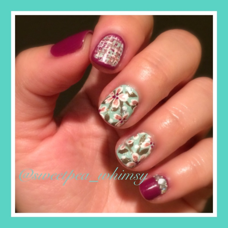 Tweed & Blossoms nail art by SweetPea_Whimsy