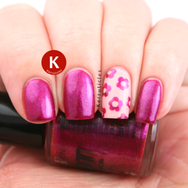 Pink with dotted flowers accent nail art by Claire Kerr