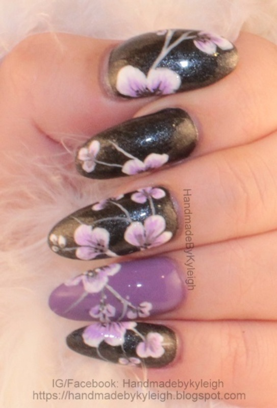 Purple Floral nail art by  Kyleigh  'Handmade By Kyleigh'