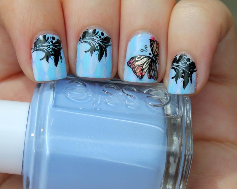Butterfly Accent nail art by Moriesnailart