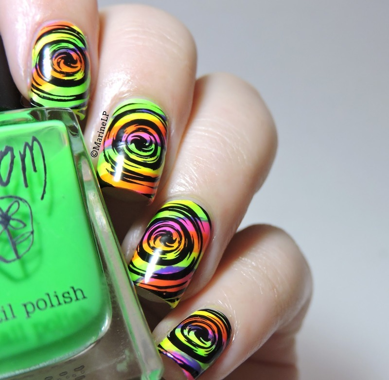 Psychedelic neon nails nail art by Marine Loves Polish