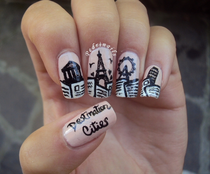 Postcards from Athens, Paris, London and Pisa nail art by Pedrinails