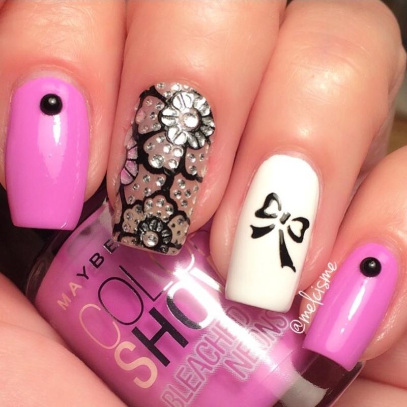 Girly mix n match nail art by Melissa