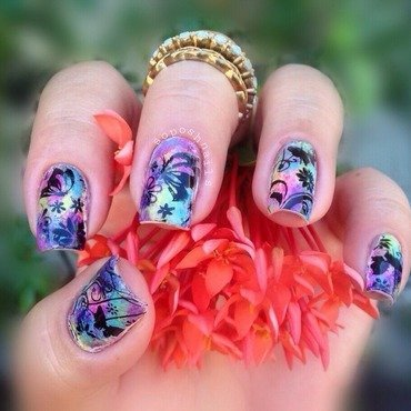 Butterfly Garden nail art by Debbie