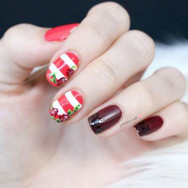Nautical roses nail art by Jen from polished-with-love