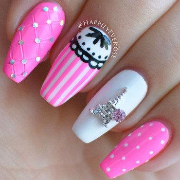 Pink Paris nail art by HappilyEver Rose