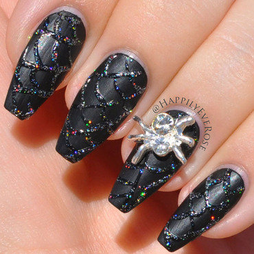 Spider Web nail art by HappilyEver Rose