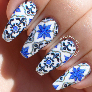 Mexican Tile  nail art by HappilyEver Rose