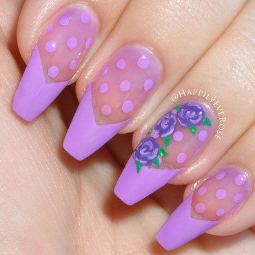 Purple Polka Dot w/Roses nail art by HappilyEver Rose