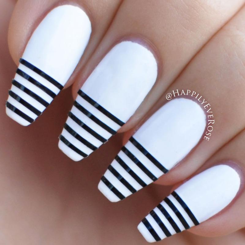 White Stripe nail art by HappilyEver Rose