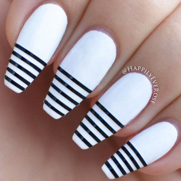 White Stripe nail art by HappilyEver Rose