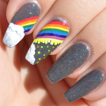 Acid Rainbow nail art by HappilyEver Rose