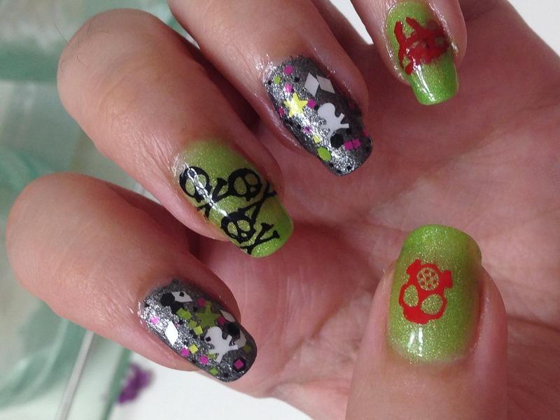 Biohazard Nails nail art by Snowwhitequ33n