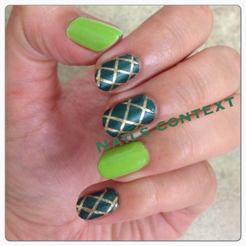 Green n Gold nail art by NailsContext