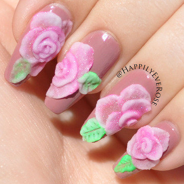 3d Roses nail art by HappilyEver Rose