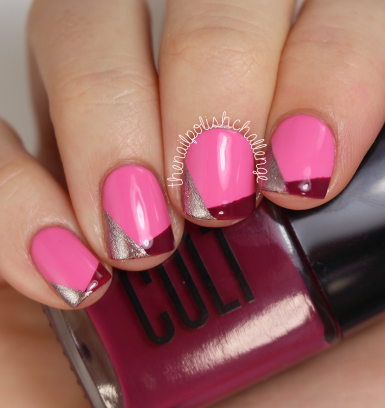 Pink Funky French Tips nail art by Kelli Dobrin