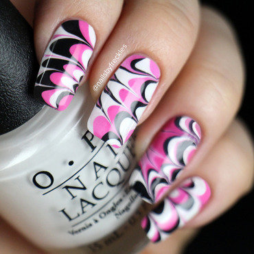 Pink, white and black water marbling nail art by NailsbyFreckles