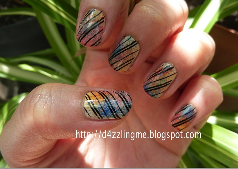 Stripe Nail Art  nail art by D4zzling Me