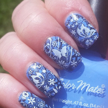 Butterfly Blues nail art by Gr8Nails