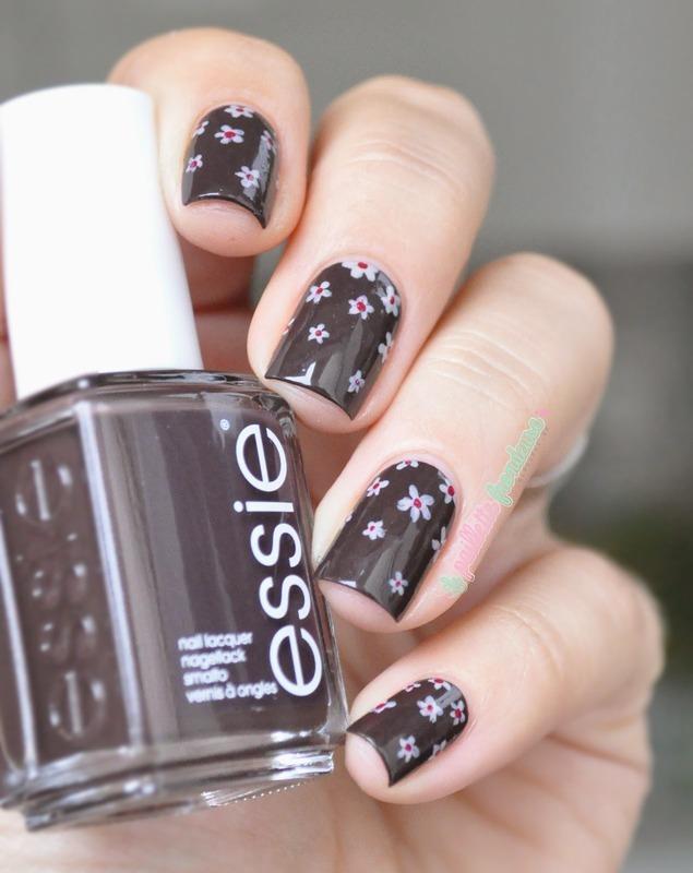 Black brown floral nail art by nathalie lapaillettefrondeuse
