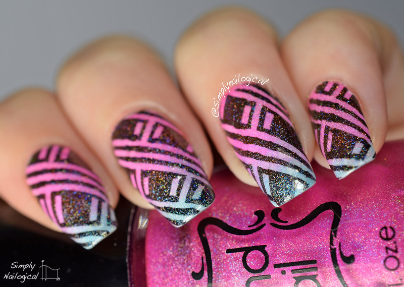 Neon holo jelly leadlighting gradient crosshatch nail art by simplynailogical