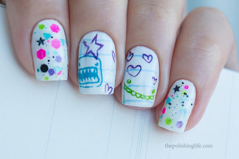 Back to school nail art by Alena Belozerova