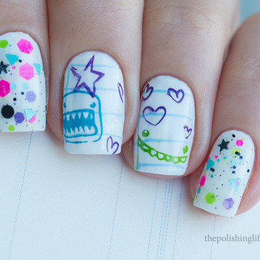 Back to school nail art by Alena Belozerova