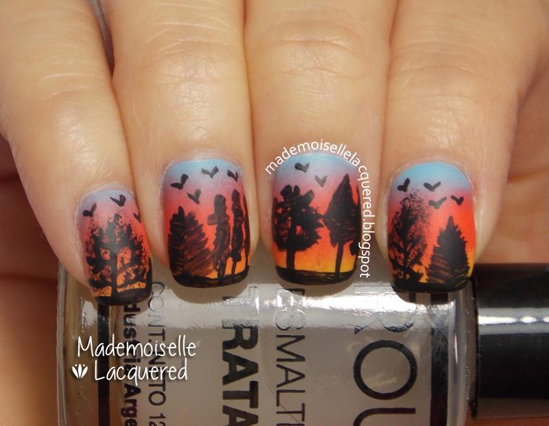 sunrise trees nail art nail art by Emilia
