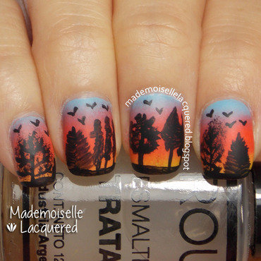 sunrise trees nail art nail art by Emilia