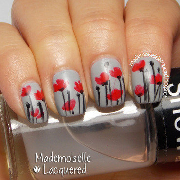 Red Poppies nail art by Emilia