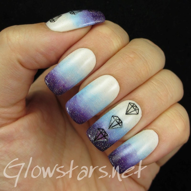 A gradient with jewel nail art stickers nail art by Vic 'Glowstars' Pires