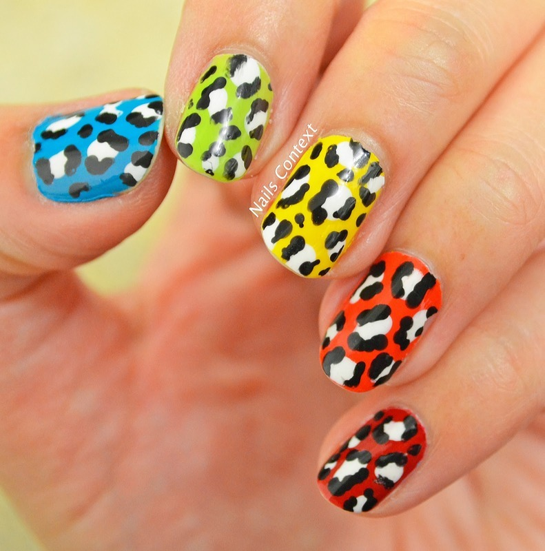Skittle Leopard Print nail art by NailsContext