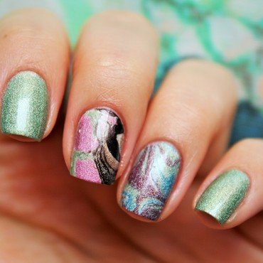 Holographic watermarble nail art by Jane