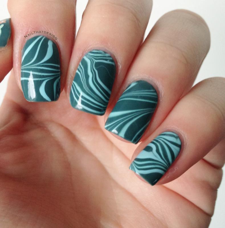 #31DC2014 - Water Marble nail art by NailThatDesign