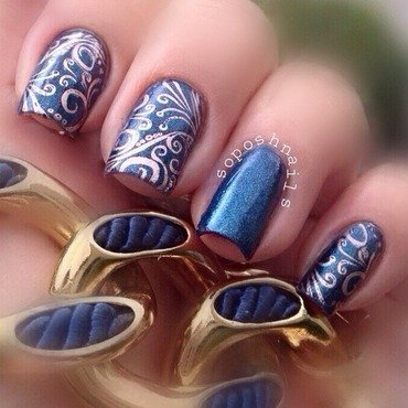 Deep Blue Shimmer and Copper Swirls nail art by Debbie