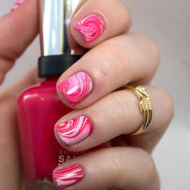 #31DC2014 Day Twenty Water Marble Nails nail art by Julie