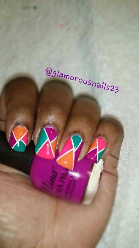 Colorful Striping Tape Mani  nail art by glamorousnails23