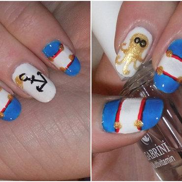 Nautical Nails nail art by Iulia