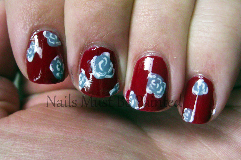 Regal Roses nail art by Emily