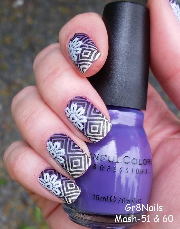 Purple Aztec nail art by Gr8Nails
