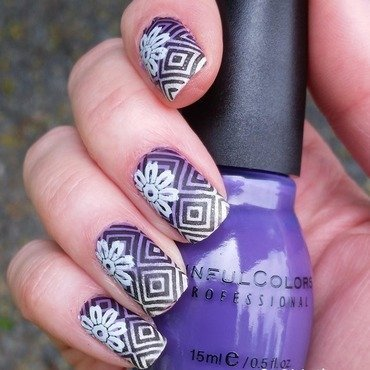 Purple Aztec nail art by Gr8Nails