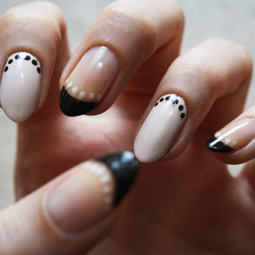 French with dots nail art by Pat