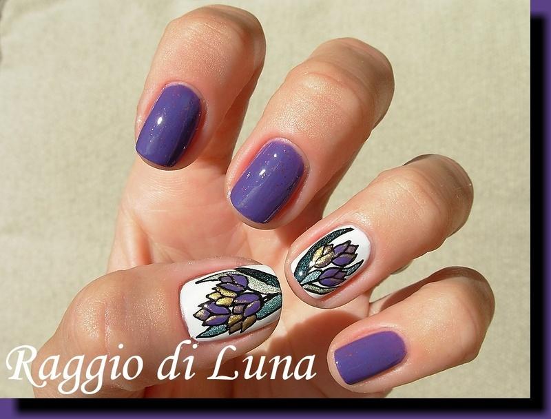 Purple & golden tulips nail art by Tanja