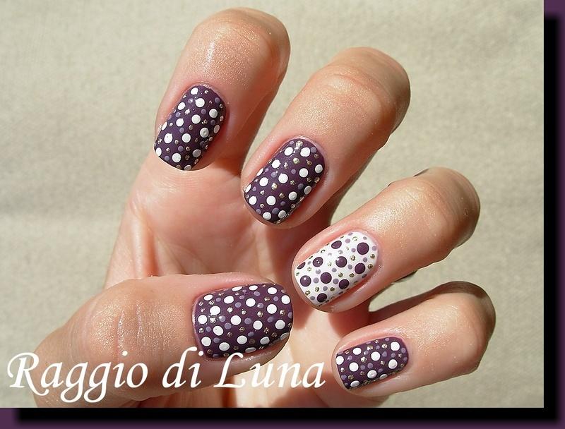 Dots on eggplant purple nail art by Tanja